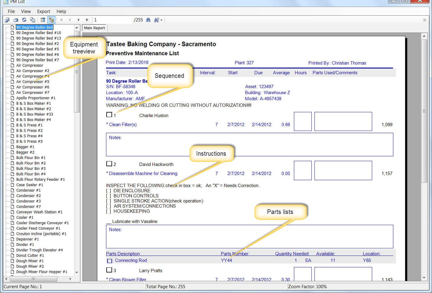 Maintenance Software Task List