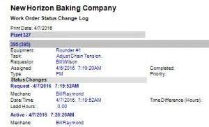 work order status change log