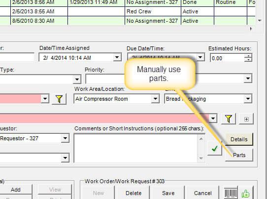 work order program part linking