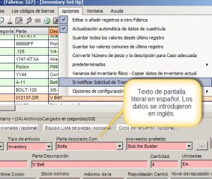 spanish translated inventory management software