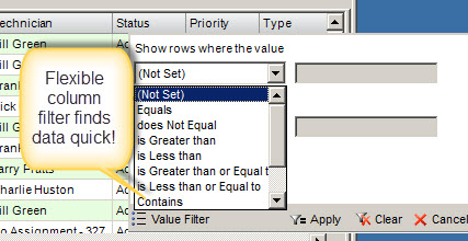 work order filters save time