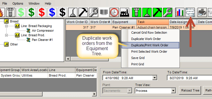 generate duplicate work orders