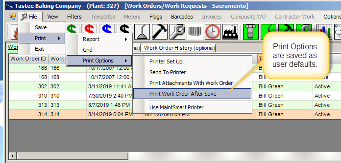 work order tips - print options