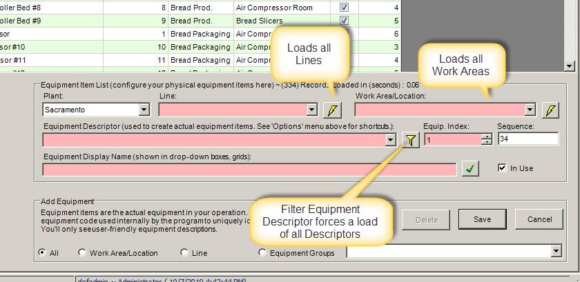 refresh equipment screen drop-downs