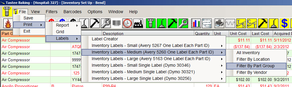 avery cmms barcode label options